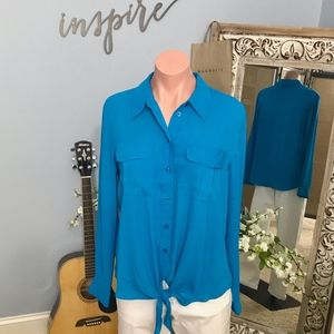 INC Semi-Sheer Tie-Front Button-Down Blouse
